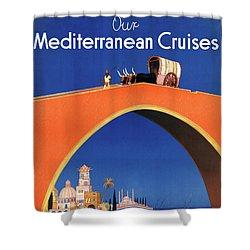 Germany Hamburg Vintage Travel Poster Restored Shower Curtain by Carsten Reisinger