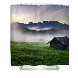 Geroldsee Forest With Beautiful Foggy Sunrise Over Mountain Peaks, Bavarian Alps, Bavaria, Germany. Shower Curtain