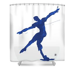 Shower Curtain featuring the painting Gesture Brush Blue 2 by Shungaboy X