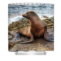 Get My Good Side Shower Curtain by Eddie Yerkish