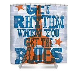 Get Rhythm - Johnny Cash Lyric Poster Shower Curtain