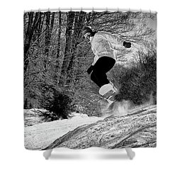 Shower Curtain featuring the photograph Getting Air On The Snowboard by David Patterson