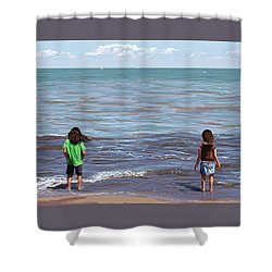 Shower Curtain featuring the painting Getting Their Feet Wet by Shawna Rowe