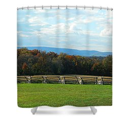 Shower Curtain featuring the photograph Gettysburg Battlefield And Beyond by Emmy Marie Vickers
