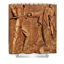 Gettysburg Bronze Relief Shower Curtain by Eric  Schiabor
