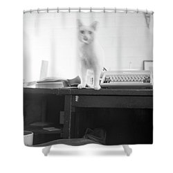 Ghost Cat, With Typewriter Shower Curtain