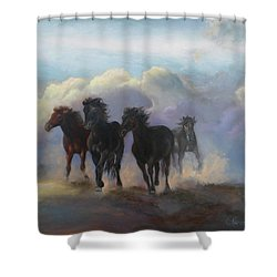 Ghost Horses Shower Curtain by Karen Kennedy Chatham