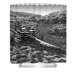 Ghost Wagons Of Bannack Montana Shower Curtain by Daniel Hagerman
