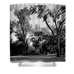 Ghostly Bok Tower Shower Curtain by David Lee Thompson
