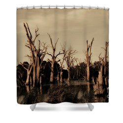 Ghostly Trees V2 Shower Curtain by Douglas Barnard