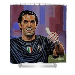 Gianluigi Buffon Painting Shower Curtain by Paul Meijering