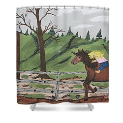 Shower Curtain featuring the painting Gianna Riding  Bareback by Jeffrey Koss