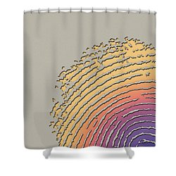 Giant Iridescent Fingerprint On Beige Shower Curtain