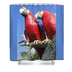Giant Macaws Shower Curtain by Randall Weidner