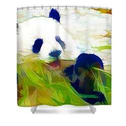 Giant Panda Bear Eating Bamboo Shower Curtain by Lanjee Chee