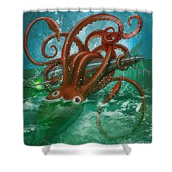 Giant Squid And Nautilus Shower Curtain by Andy Catling