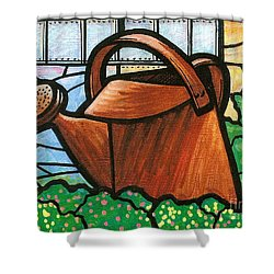 Shower Curtain featuring the painting Giant Watering Can Staunton Landmark by Jim Harris