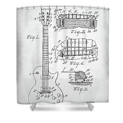 Gibson Les Paul Electric Guitar Patent Shower Curtain by Taylan Apukovska