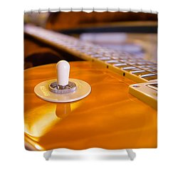 Yellow Quilt Guitar Top Shower Curtain