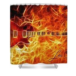 Gibson Les Paul Shower Curtain by Taylan Apukovska