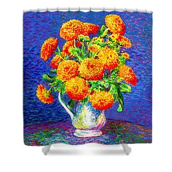 Shower Curtain featuring the painting Gift Of Gold, Orange Flowers by Jane Small