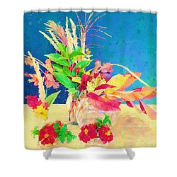 Shower Curtain featuring the digital art Gifts From The Yard Watercolor by Christina Lihani