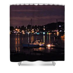 Gig Harbor At Night Shower Curtain by Jack Moskovita
