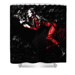 Gigi Red Dress Shower Curtain by Brian Reaves