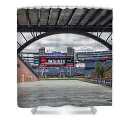 Gillette Stadium And The Four Super Bowl Banners Shower Curtain