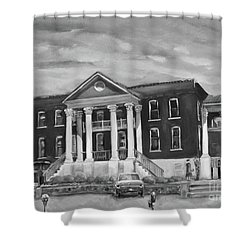 Gilmer County Old Courthouse - Black And White Shower Curtain