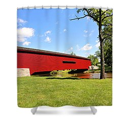 Shower Curtain featuring the photograph Gilpin's Falls Covered Bridge by Trina  Ansel
