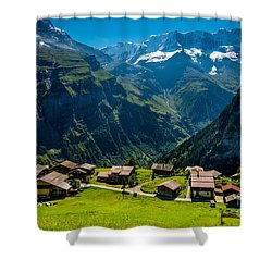 Gimmelwald In Swiss Alps - Switzerland Shower Curtain