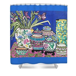 Shower Curtain featuring the painting Ginger Jars by Rosemary Aubut