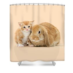 Ginger Kitten And Sandy Bunny Shower Curtain