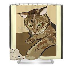 Ginger Peach Bengal Kitty Shower Curtain