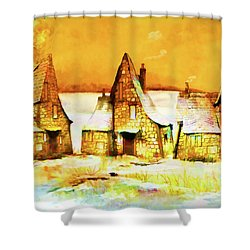 Shower Curtain featuring the painting Gingerbread Cottages by Valerie Anne Kelly
