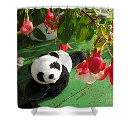 Shower Curtain featuring the photograph Ginny Under The Red And White Fuchsia by Ausra Huntington nee Paulauskaite
