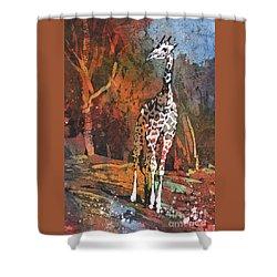 Shower Curtain featuring the painting Giraffe Batik II by Ryan Fox