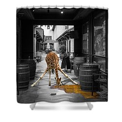 Giraffe Drinking Whiskey Series 4987y Shower Curtain