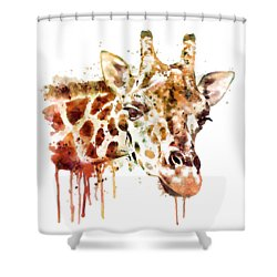 Giraffe Head Shower Curtain by Marian Voicu