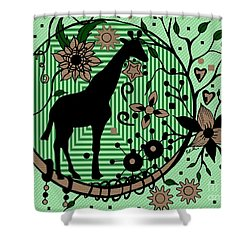 Shower Curtain featuring the drawing Giraffe Illustration by Saribelle Rodriguez