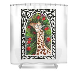 Giraffe In Archway Shower Curtain by Lise Winne