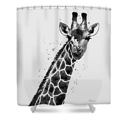 Giraffe In Black And White Shower Curtain by Hailey E Herrera