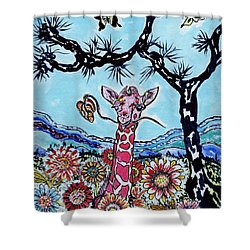 Giraffe In Garden Shower Curtain by Connie Valasco