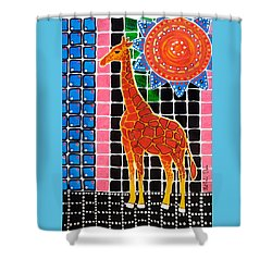 Shower Curtain featuring the painting Giraffe In The Bathroom - Art By Dora Hathazi Mendes by Dora Hathazi Mendes