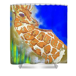Shower Curtain featuring the painting Giraffe by J R Seymour