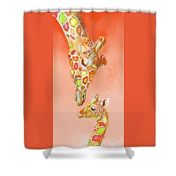 Giraffe Love- Orange Shower Curtain by Jane Schnetlage