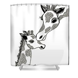 Giraffe Mom And Baby Shower Curtain