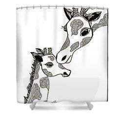 Giraffe Mom And Baby Shower Curtain