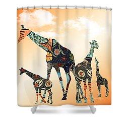 Giraffe Stroll Shower Curtain